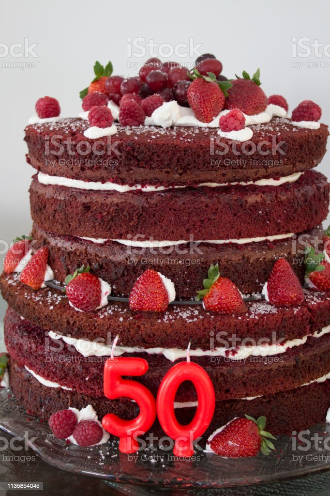 Prime 50Th Red Velvet Birthday Cake With Strawberries And Candles Stock Funny Birthday Cards Online Fluifree Goldxyz