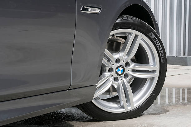 BMW 520d Wheel with DUNLOP tire stock photo