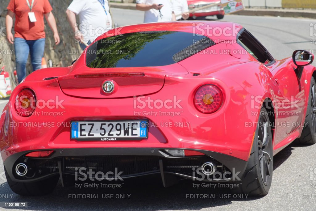 19th century old vintage Alfa Romeo model 4c car competes for the...