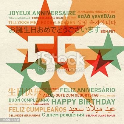 55th anniversary happy birthday from the world. Different languages celebration card