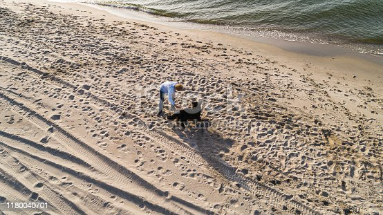 Mature woman with Zennenhund dog on a sea beach in the sunny fall day. Aerial photo.