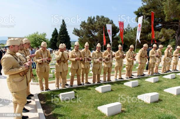 57th Infantry in Gallipoli, Çanakkale Canakkale, Turkey - April 28, 2019: Military Ceremony Martyrs' Memorial For 57th Infantry Regiment of Ottoman Empire, Canakkale, Turkey 1915 Stock Photo
