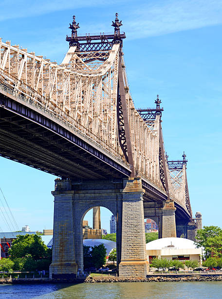 59 th street bridge (queensboro bridge), new york city - roosevelt island foto e immagini stock