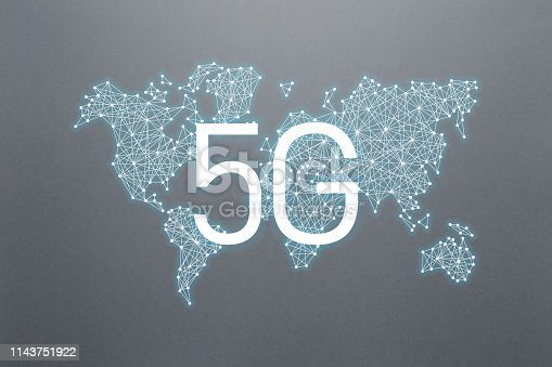 istock 5g concept of internet connection technology. World community and network. Network and Connection technology. 5g network mobile data. Concept on gray background 1143751922