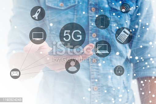 917493152istockphoto 5g internet concept with businessman pressing buttons 1192524243