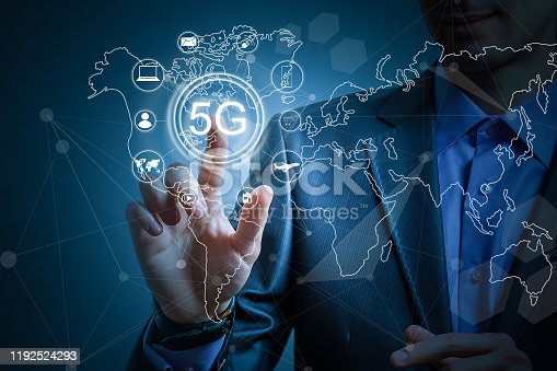 917493152istockphoto 5g internet concept with businessman pressing buttons 1192524293
