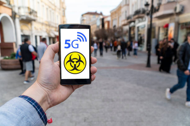 5g network danger displayed outdoors stock photo