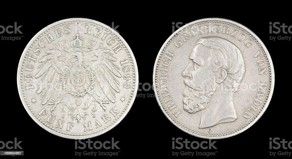 5-Mark-Coin, German Empire, 1899 stock photo