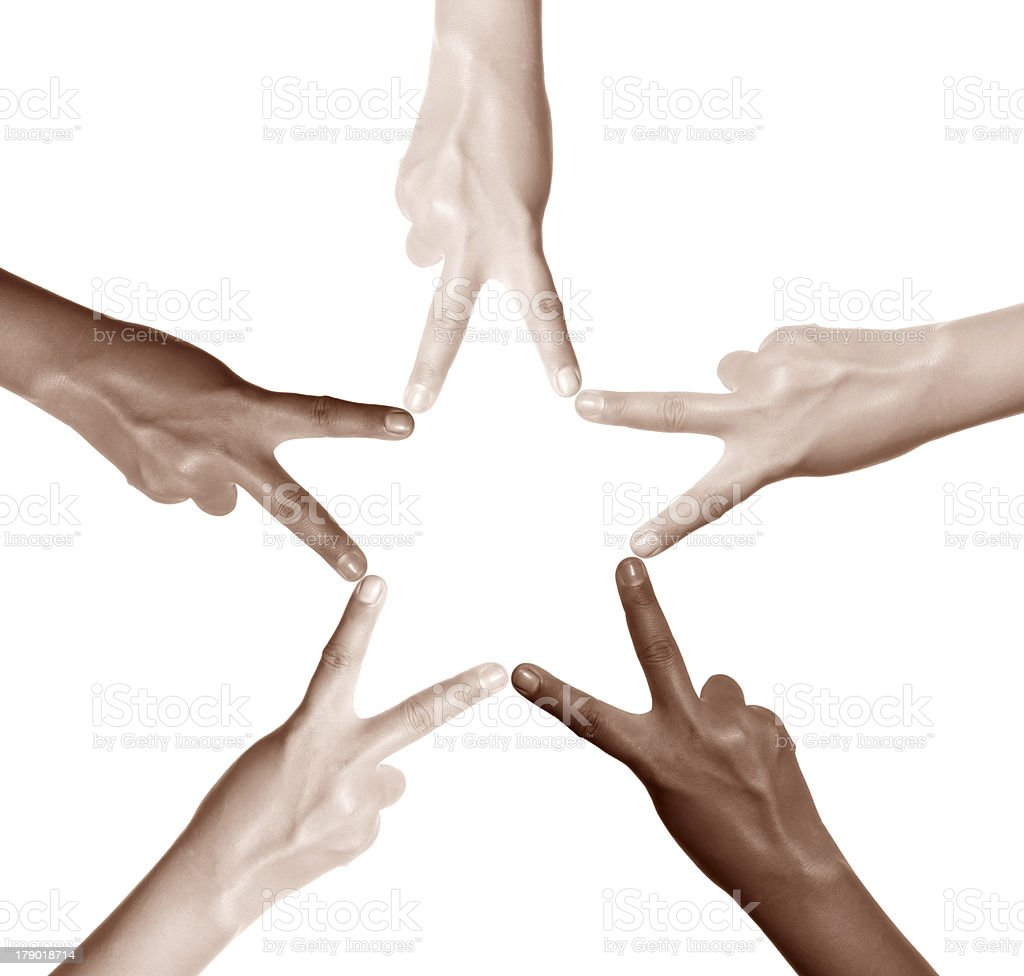 5-star mutiethnitic finger stock photo