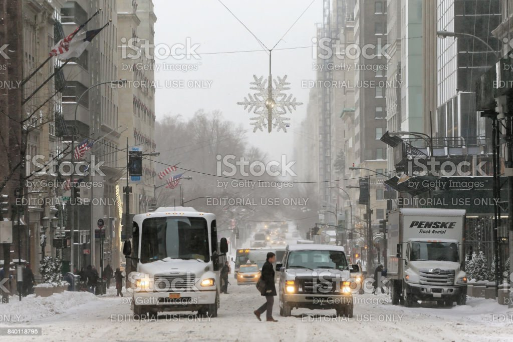 5th Ave in Manhattan on Snowy day stock photo