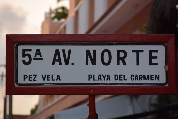 5th ave. - playa del carmen stock photos and pictures