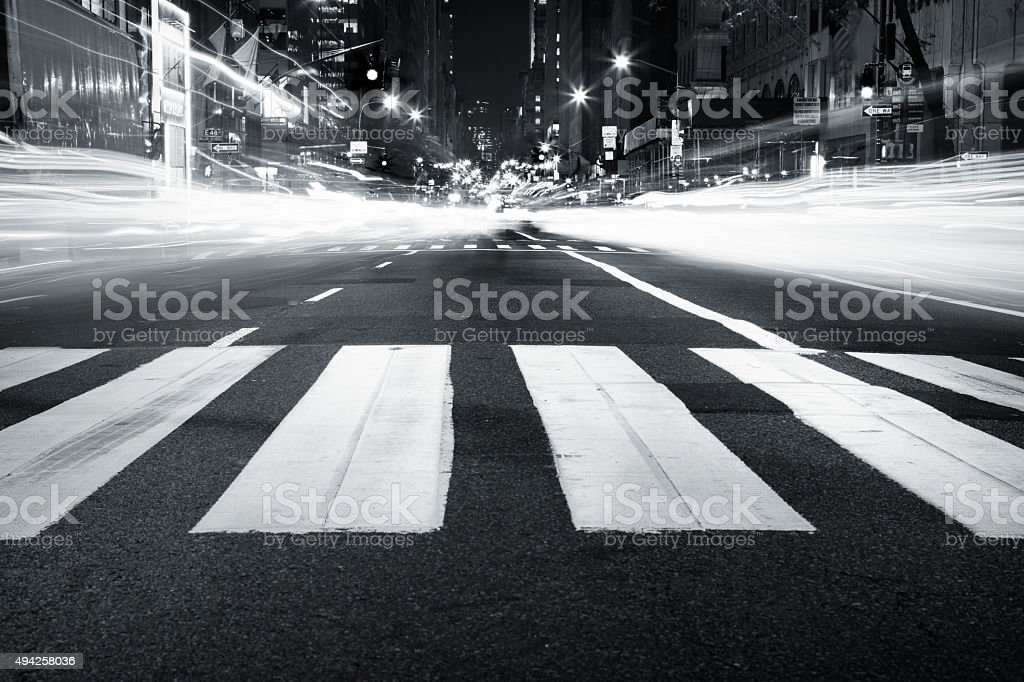 5th Avenue ligh trails stock photo