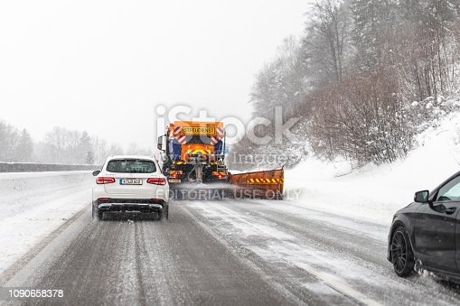 5th January 2019 - Salzburg area, Austria: Traffic jam on highway road due heavy snowfall and blizzard storm.