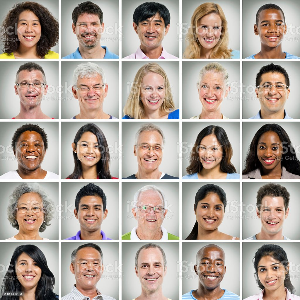 5x5 Grid of Close Up of Smiling People stock photo