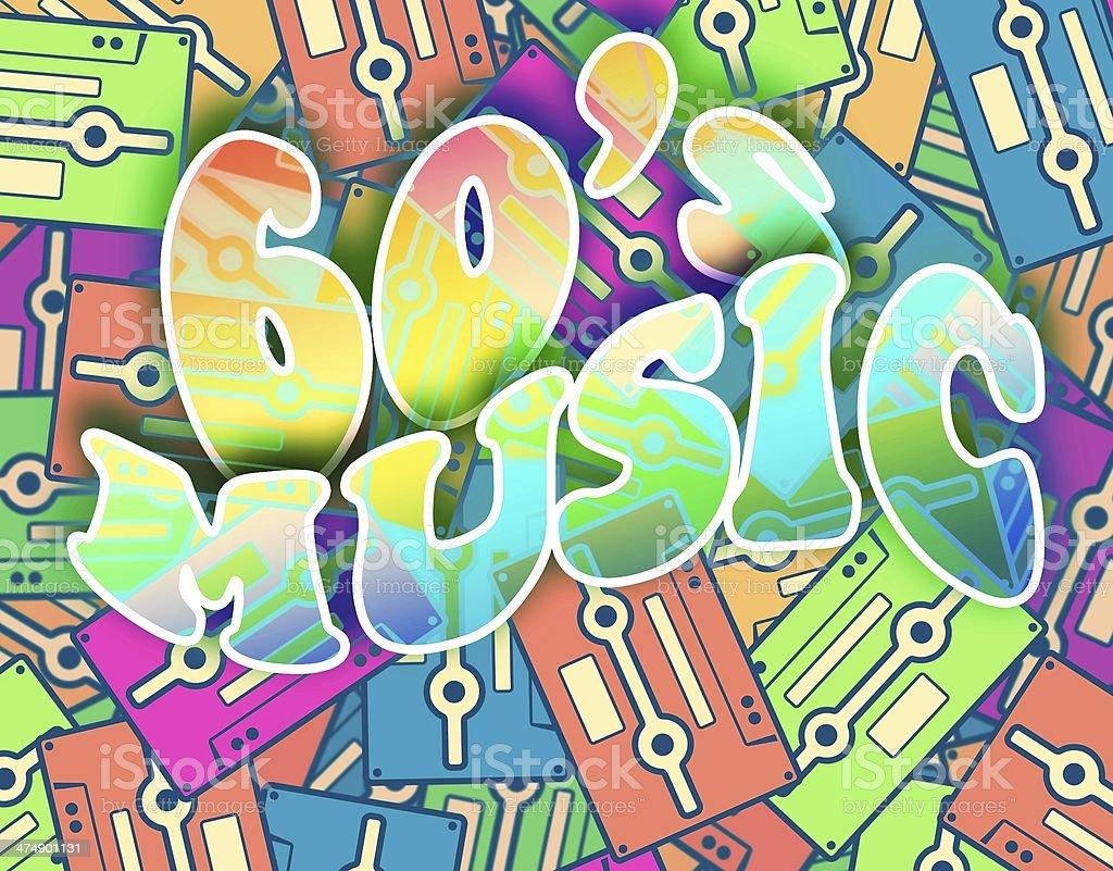 60s Music Retro Concept Vintage Poster Design Stock Photo