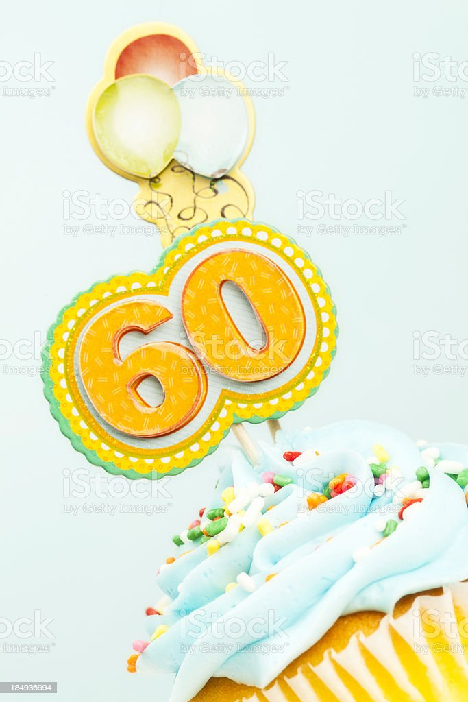 60th Birthday Cupcake stock photo