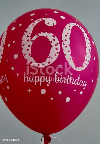 Pink balloon to celebrate a 60th birthday