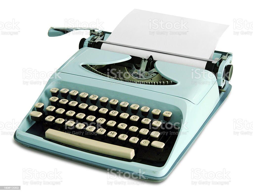 60th portable retro typewriter stock photo