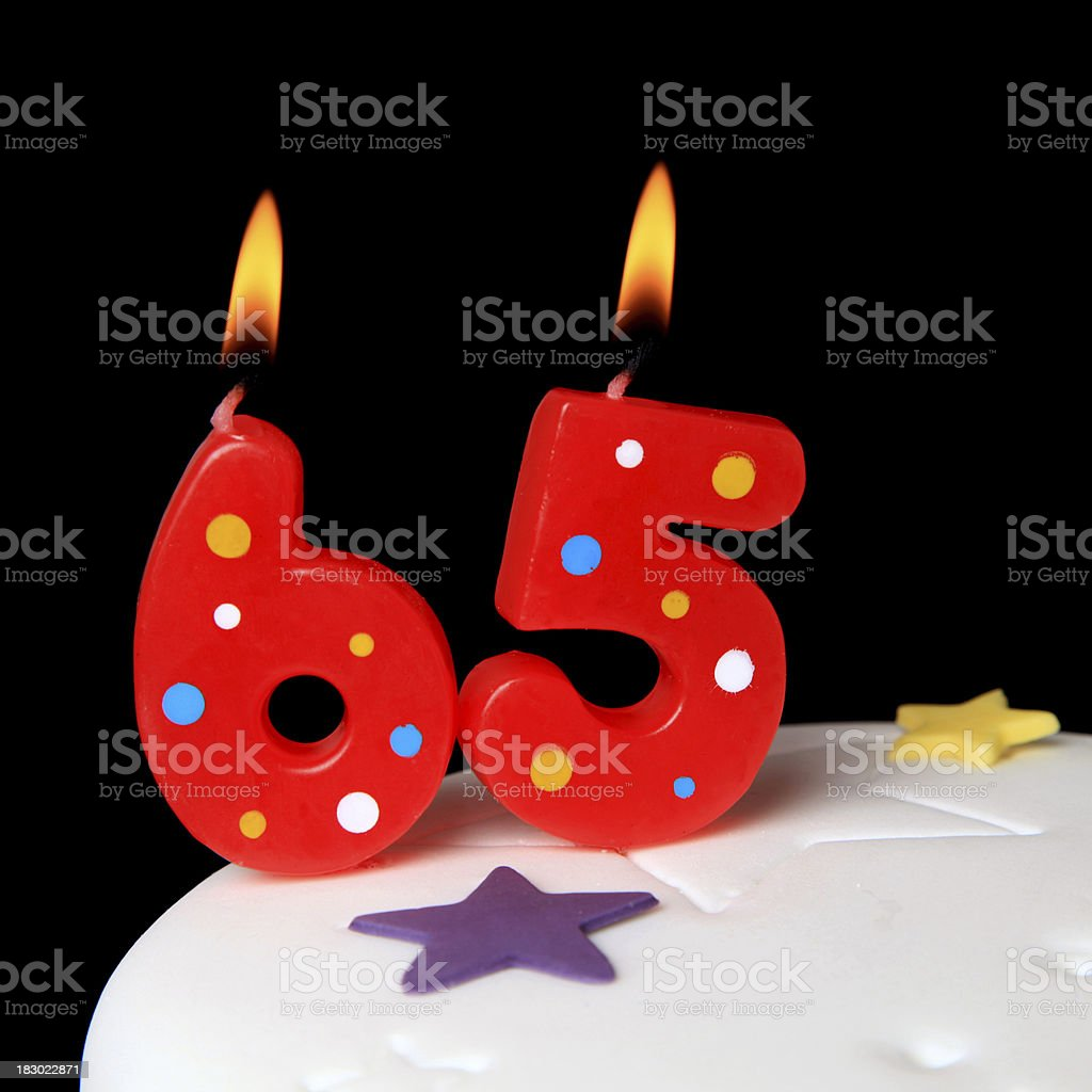65th Birthday candles stock photo