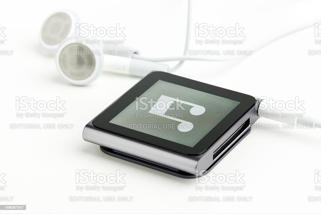 6th generation iPod nano with earphones stock photo