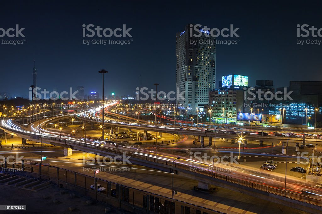 6th October Bridge in Cairo Egypt by night stock photo