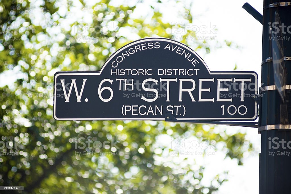 6th Street Sign in Austin, Texas stock photo