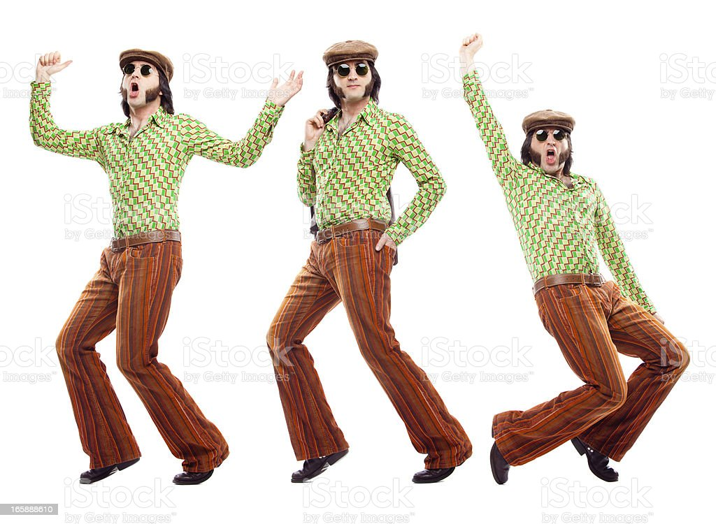 70s green vintage dancer dance poses isolated on white stock photo