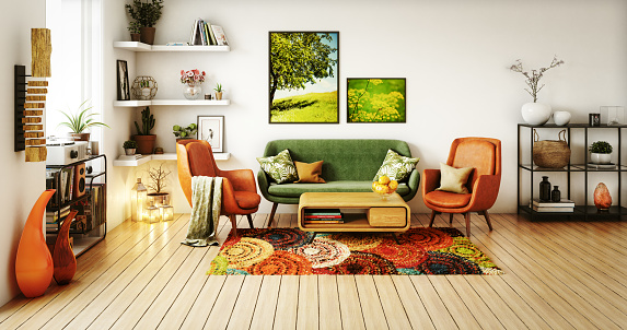 Digitally generated 70s style living room interior design.  The scene was rendered with photorealistic shaders and lighting in Autodesk® 3ds Max 2016 with V-Ray 3.6 with some post-production added.