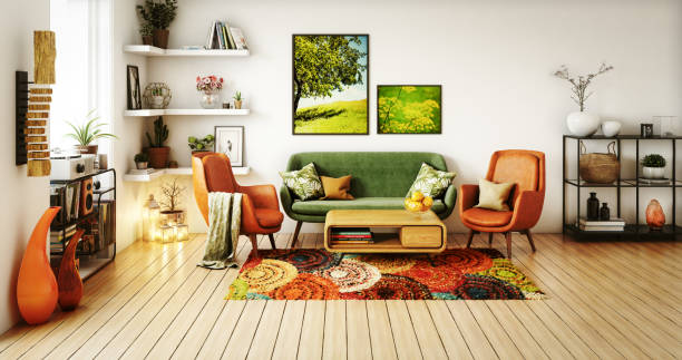 70s Style Living Room Digitally generated 70s style living room interior design.  The scene was rendered with photorealistic shaders and lighting in Autodesk® 3ds Max 2016 with V-Ray 3.6 with some post-production added. home decor stock pictures, royalty-free photos & images