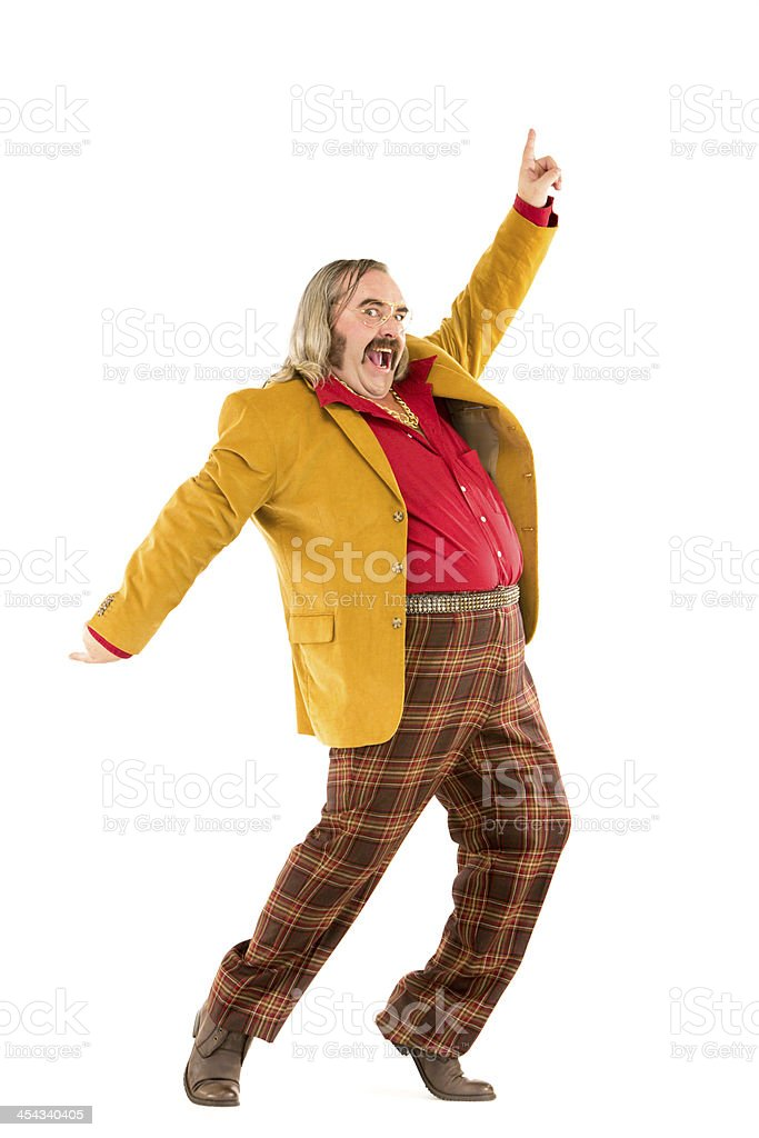 70s vintage checked trousers dancing man isolated on white stock photo