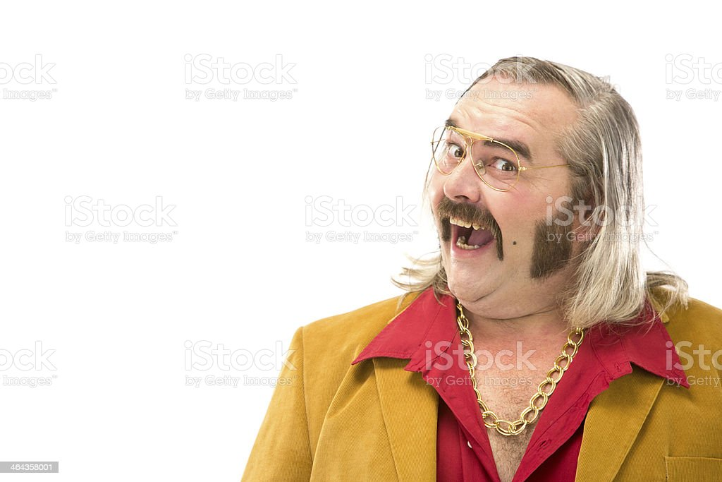 70s vintage yellow jacket satisfied man isolated on white stock photo