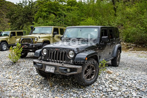 Nuevo Leon. Mexico. May 18, 2019.  This jeep is the model of the 75th Anniversary for jeep wrangler.  Outdoor photography.