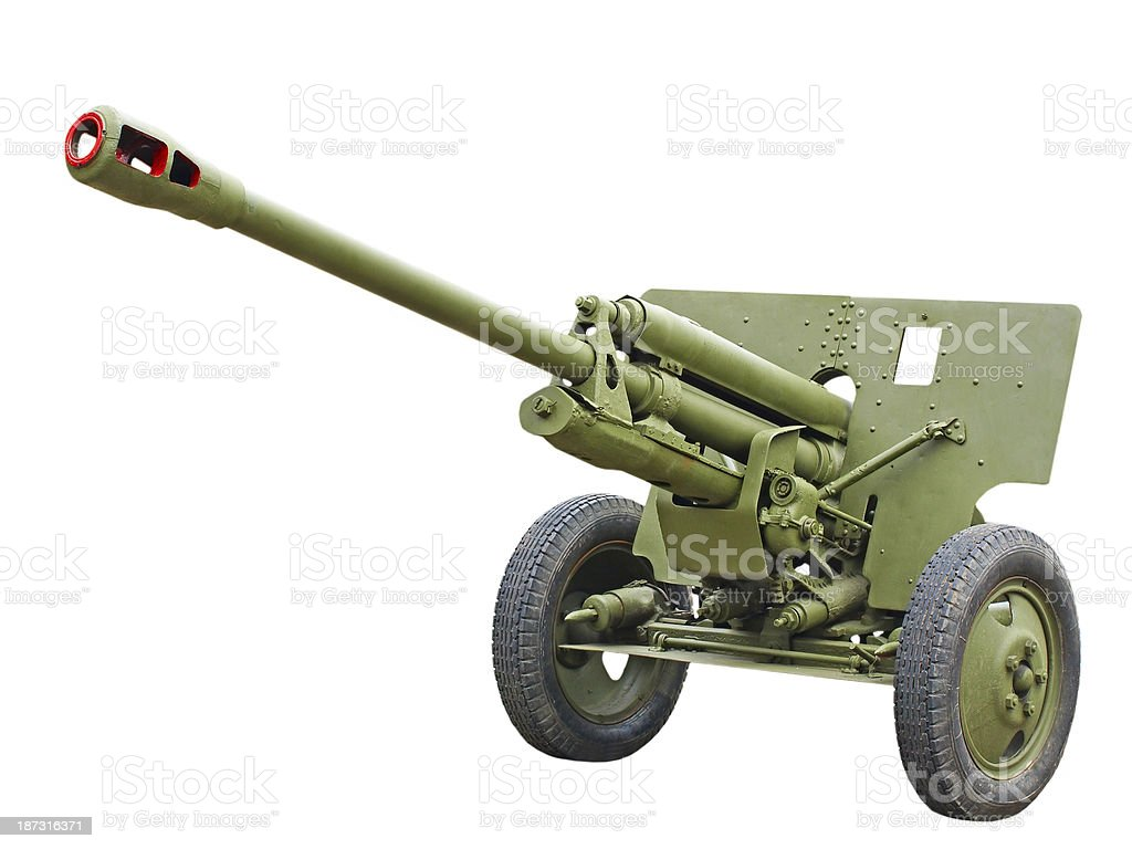 76-mm Russian division cannon gun from WWII.Isolated. stock photo