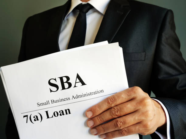 SBA 7a loan Small Business Administration agreement. stock photo