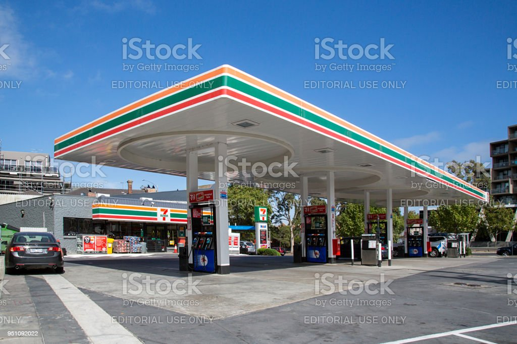 7-Eleven Convenience Store and Mobil Petrol Station stock photo