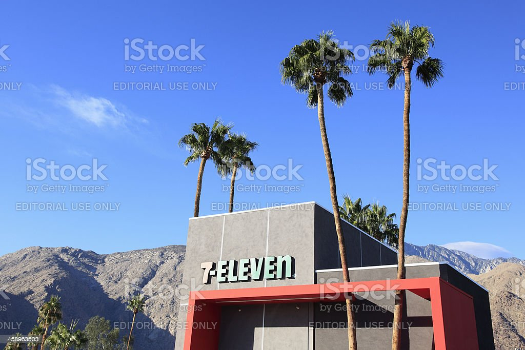 7-Eleven Modernism Architecture In Palm Springs California stock photo