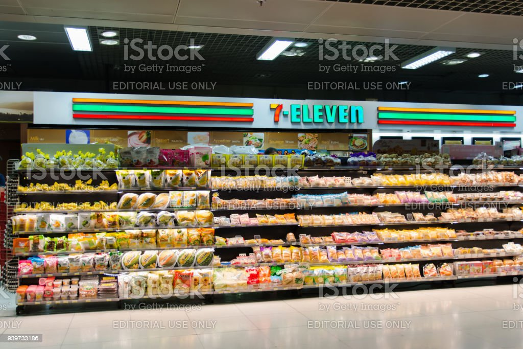 BANGKOK - MARCH 16, 2018 : 7-Eleven shop in Suvarnabhumi Airport. Thailand stock photo