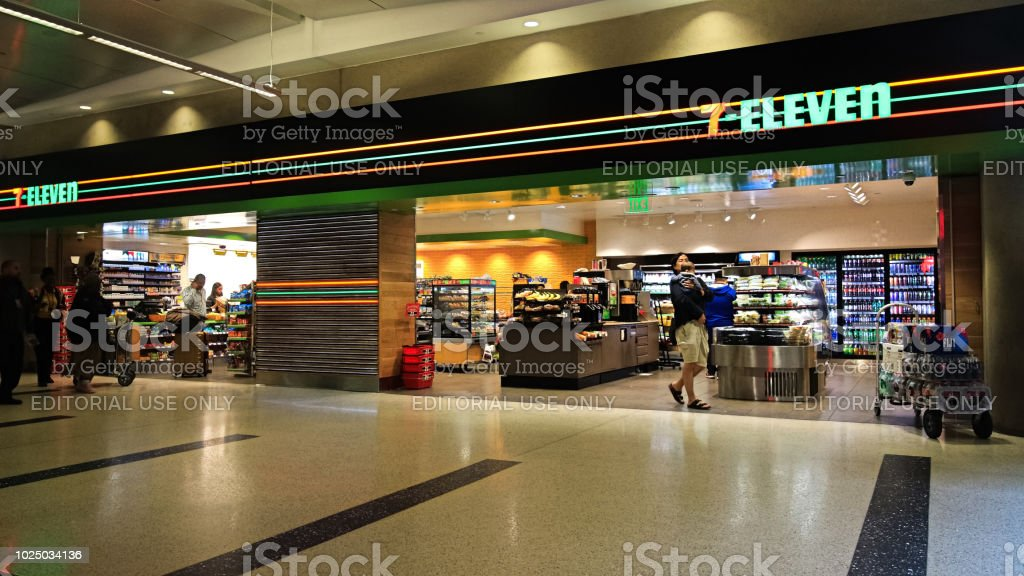 7-Eleven store at LAX International Airport stock photo