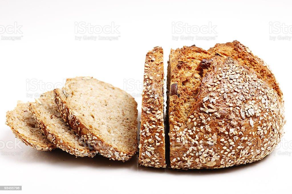 7-grain bread cut in slices stock photo