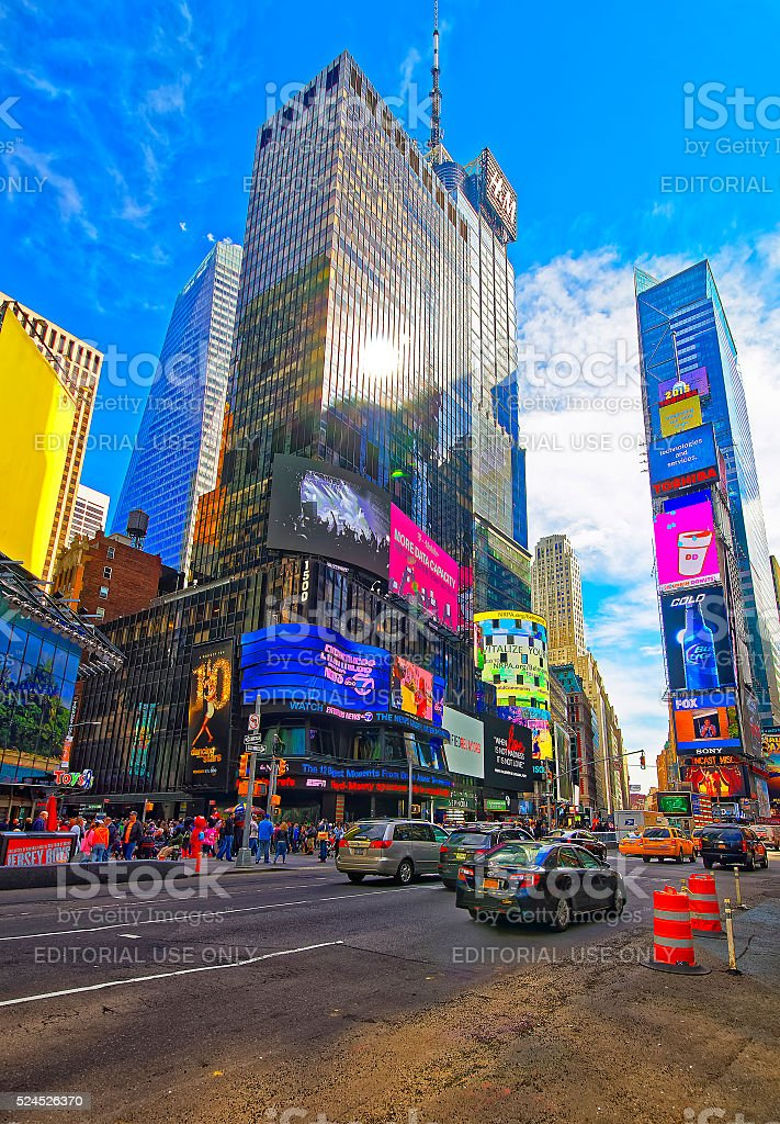 7th Avenue and West 44th Street and Broadway in Manhattan stock photo