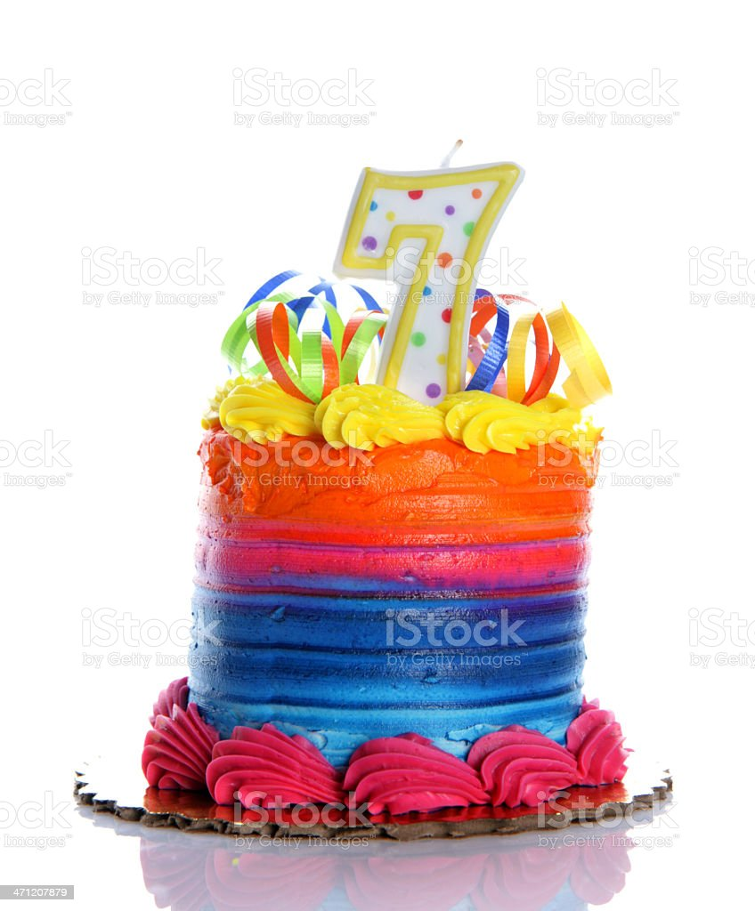 7th Birthday Cake royalty-free stock photo