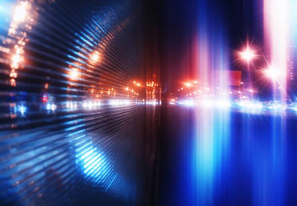 80s 90s natt staden belysning bakgrund - teleport bildbanksfoton och bilder