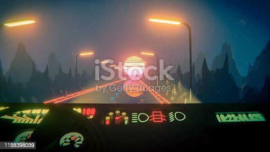 istock 80s fluorescent night background. Driver POV 1158398039