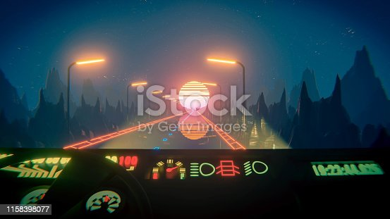 istock 80s fluorescent night background. Driver POV 1158398077
