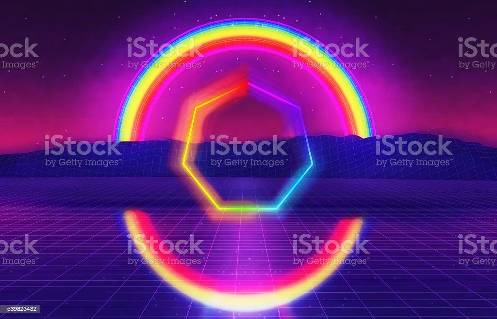 80s futuristic landscape with rainbow stock photo