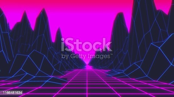 927062500 istock photo 80s Retro Futurism Background. 3d illustration 1166481634
