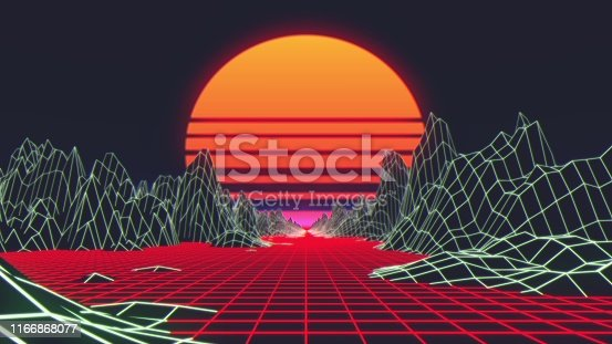 927062500 istock photo 80s Retro Futurism Background. 3d illustration 1166868077