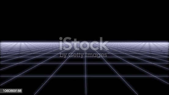 927062500 istock photo 80s Retro Futurism wireframe Background 3d render 2 1060869188