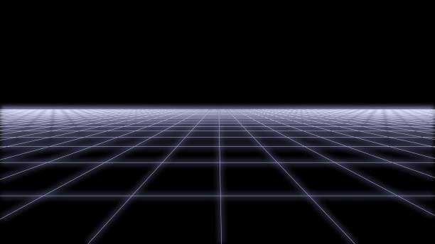 80s retro futurism wireframe background 3d render 2 - vaporwave foto e immagini stock