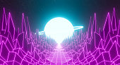 istock 80s retro futuristic city background abstract grid landscape design. Game 3D rendering illustration of dark purple pink neon light galaxy space with horizon mountain of the 1980`s. 1330171638